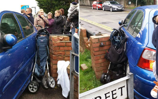 Unbelievable | Child escaped unhurt after a car crushed its stroller