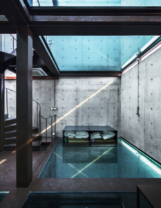 A house without windows but with glass floors
