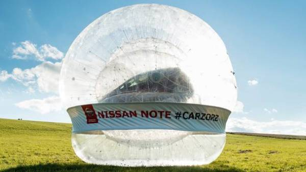 Car Rolled Down Inside the World's Biggest Plastic Bubble