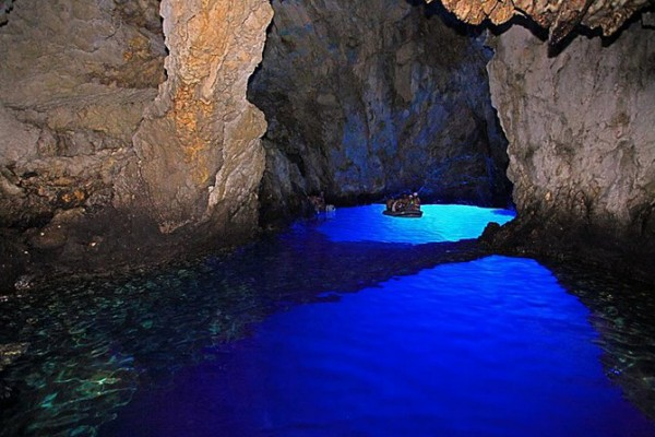 Glowing Natural Pool In A Cave