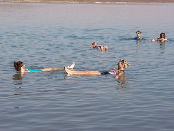 Floating in the dead sea. Zero effort