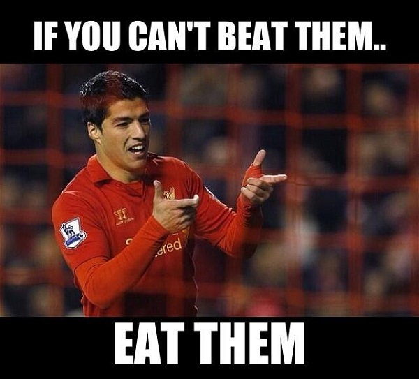 Football player Luis Suarez bites yet another opponent in the World Cup