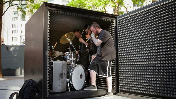 A death metal band plays its music in an airtight box for more 20 minutes!